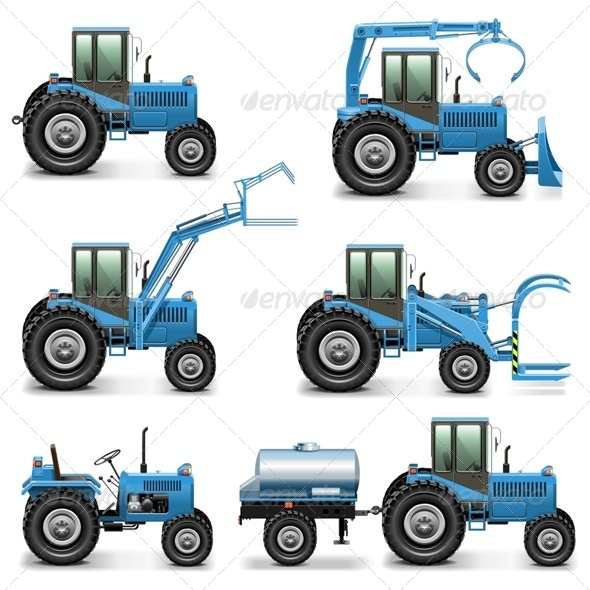 GraphicRiver Vector Agricultural Tractor Set 2 7655985