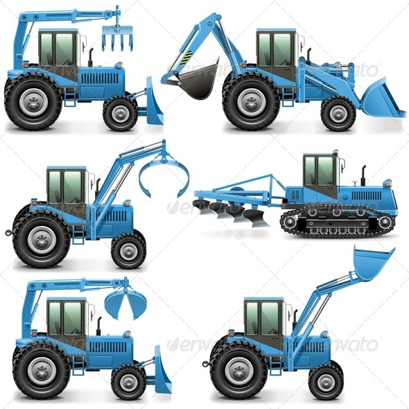 GraphicRiver Vector Agricultural Tractor Set 3 7656033