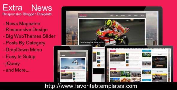ThemeForest Extra News Responsive Blogger Template 7656350