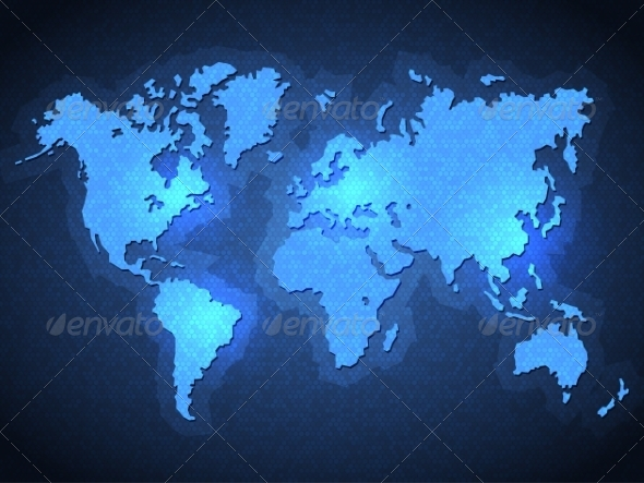 GraphicRiver Pixel World Map with Spot Lights 7657749