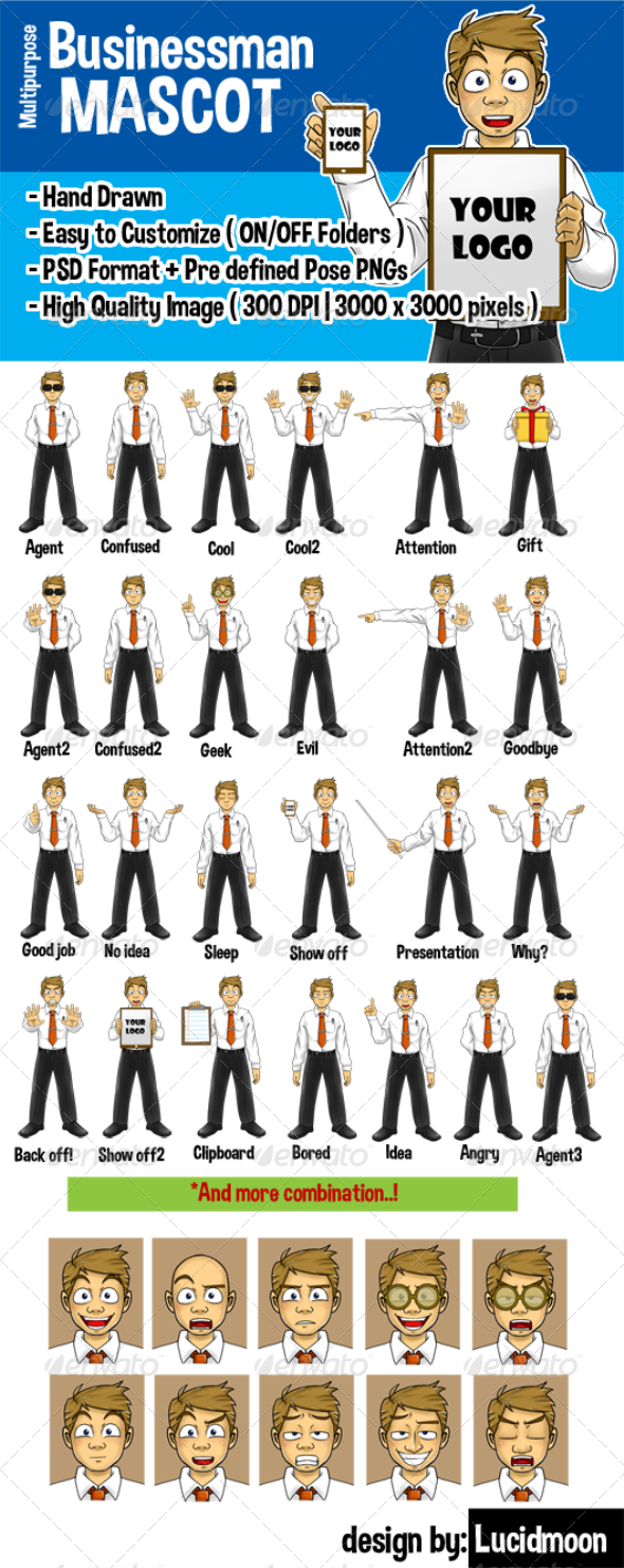 GraphicRiver Businessman Cartoon Mascot 7646143