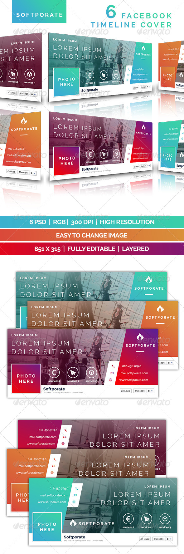 GraphicRiver Softporate Facebook Timeline Cover 7658552