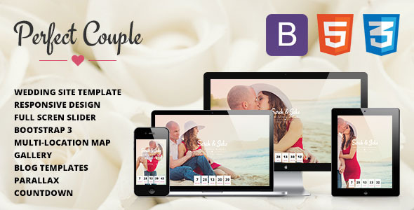 ThemeForest Perfect Couple Responsive Wedding Site Template 7658604