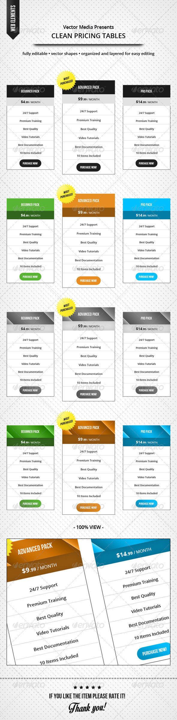 GraphicRiver Clean Pricing Tables 7658664