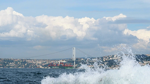 Bosphorus Bridge and Splashing Waves