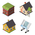 Isometric Retro Flat House Icons and Symbols set Isolated vector - PhotoDune Item for Sale