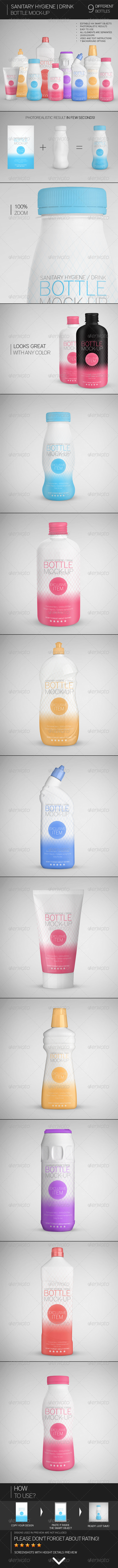 Sanitary Hygiene | Drink Bottle Mock-Up - Miscellaneous Packaging