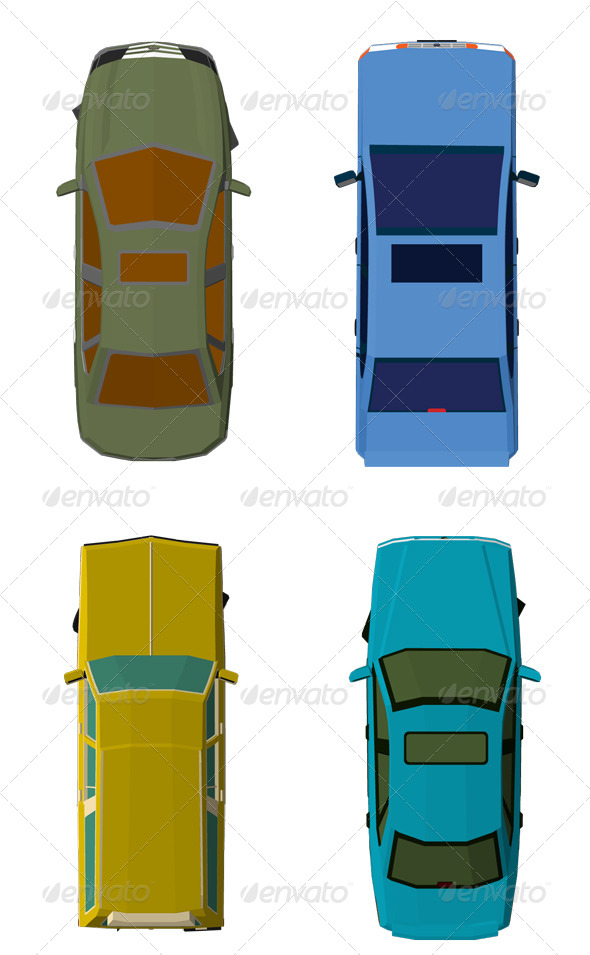 GraphicRiver Cars Top View 7660030