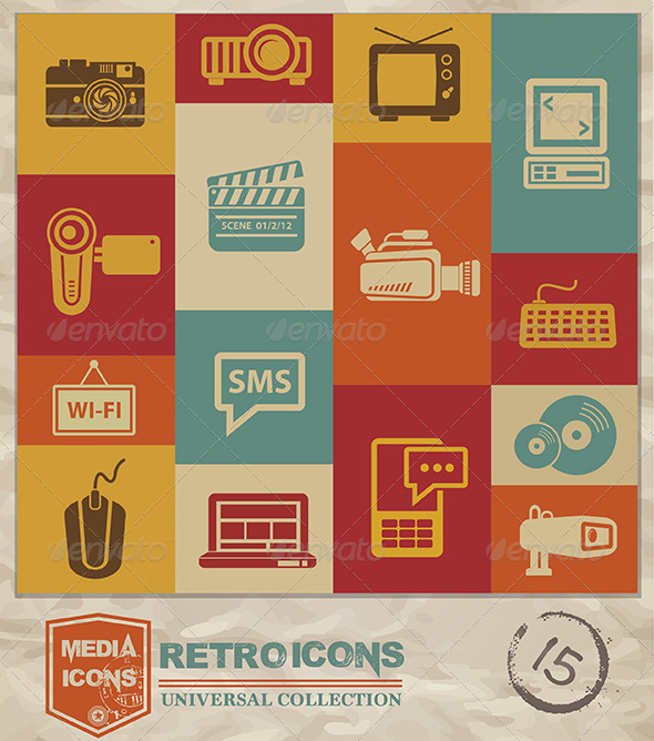 GraphicRiver Retro Media Icons 7660296