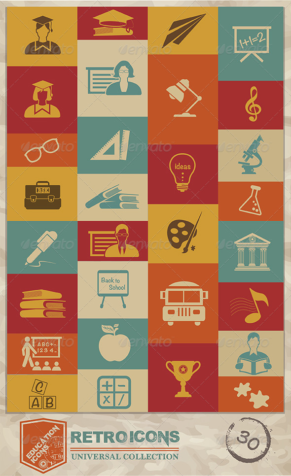 GraphicRiver Retro Education Icons 7660652