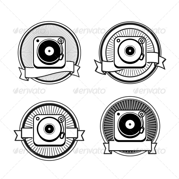 GraphicRiver Black and White Record Player Icons 7660808