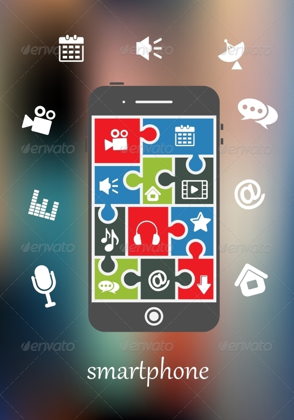 GraphicRiver Smart Phone Display with Multimedia Icons 7662600