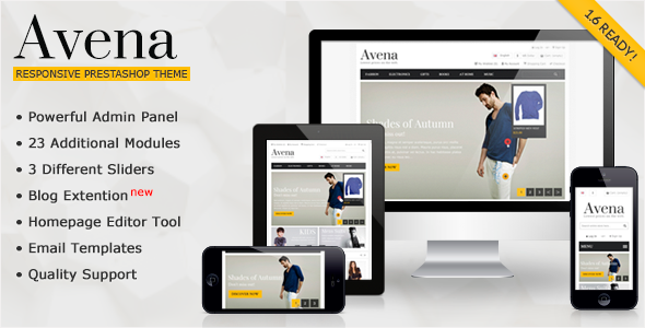 "Avena 2.0 compatible with prestashop 1.6.x Avena 1.3 compatible with prestashop 1.5.x ""Avena Responsive Premium"