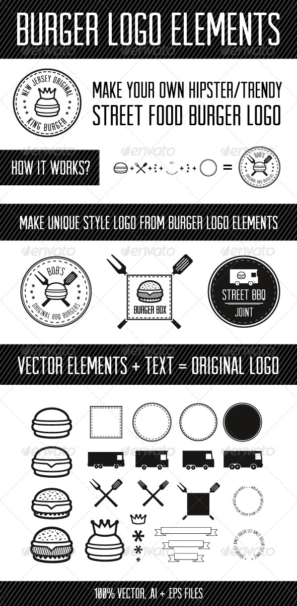 GraphicRiver Burger Logo Elements 7662743