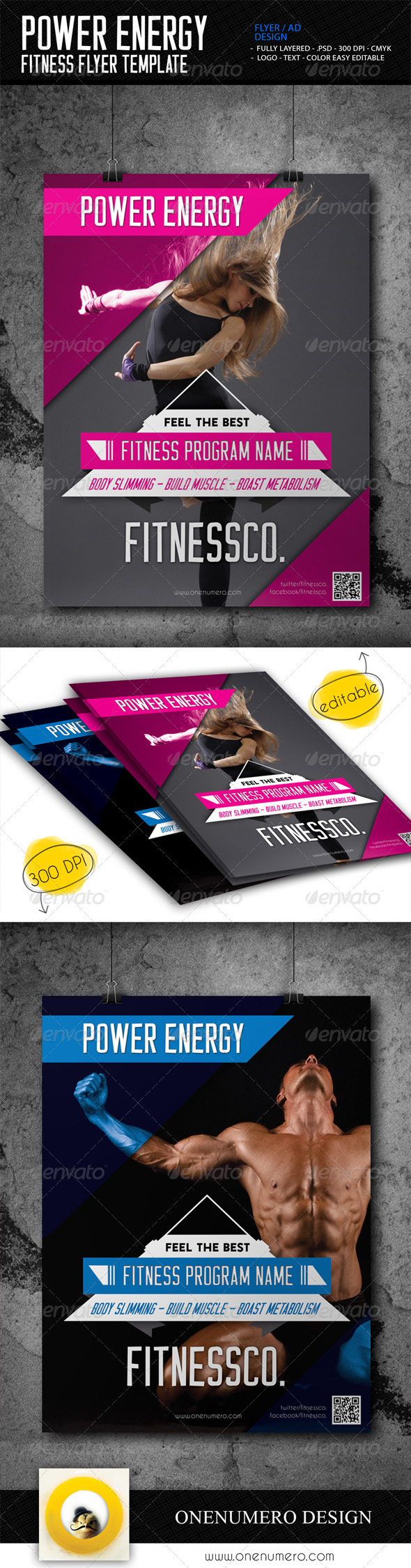 GraphicRiver Power Energy Fitness Flyer Template 7662781