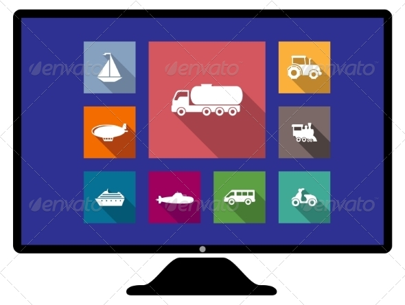 GraphicRiver Set of Flat Transport Icons on Monitor 7663072