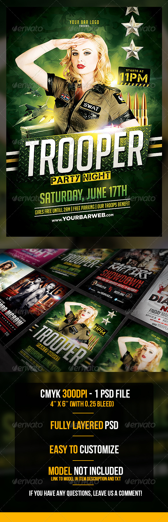Trooper Flyer Template - Clubs & Parties Events