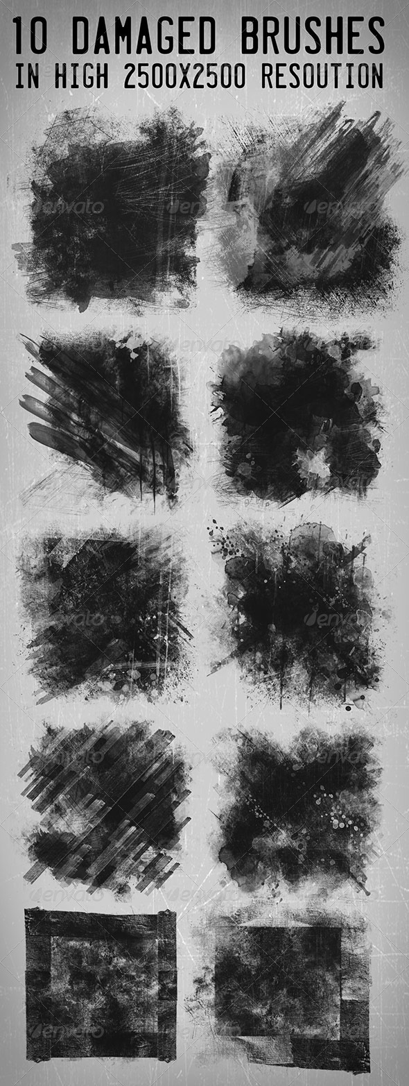 GraphicRiver 10 Hi-res Damaged Brushes 7663701