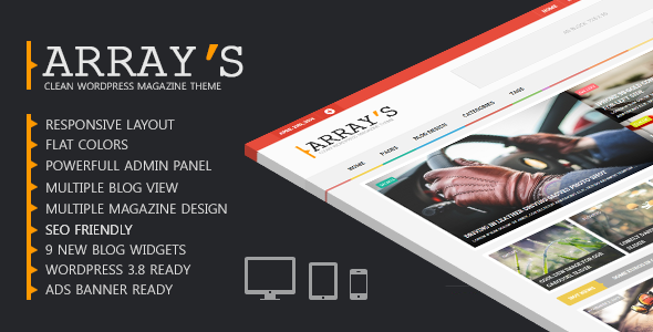 Arrays Wp Theme Design for Personal And Blog Style Wp Blog's. Its Simple And Clean Color Base Wordpress Template. Modern Blog Widgets, Powerfull Admin Pan