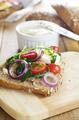 Liver paste sandwich with vegetables arugula and boiled egg - PhotoDune Item for Sale