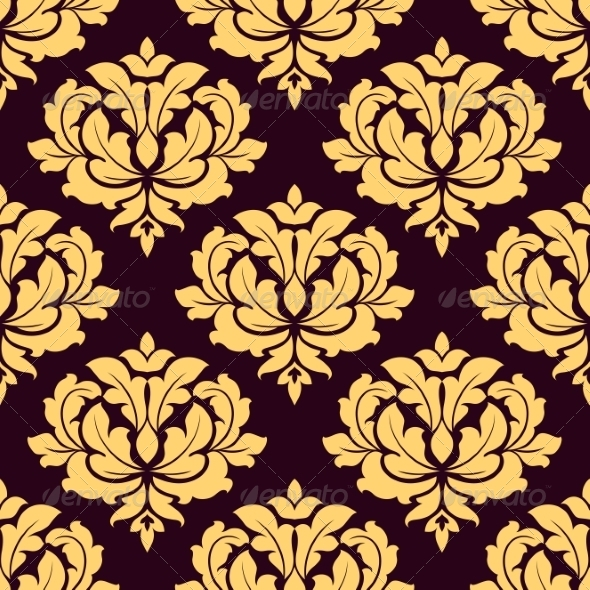 GraphicRiver Gold and Brown Seamless Damask Pattern 7664002