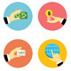 Hands with Object Icons Flat Design