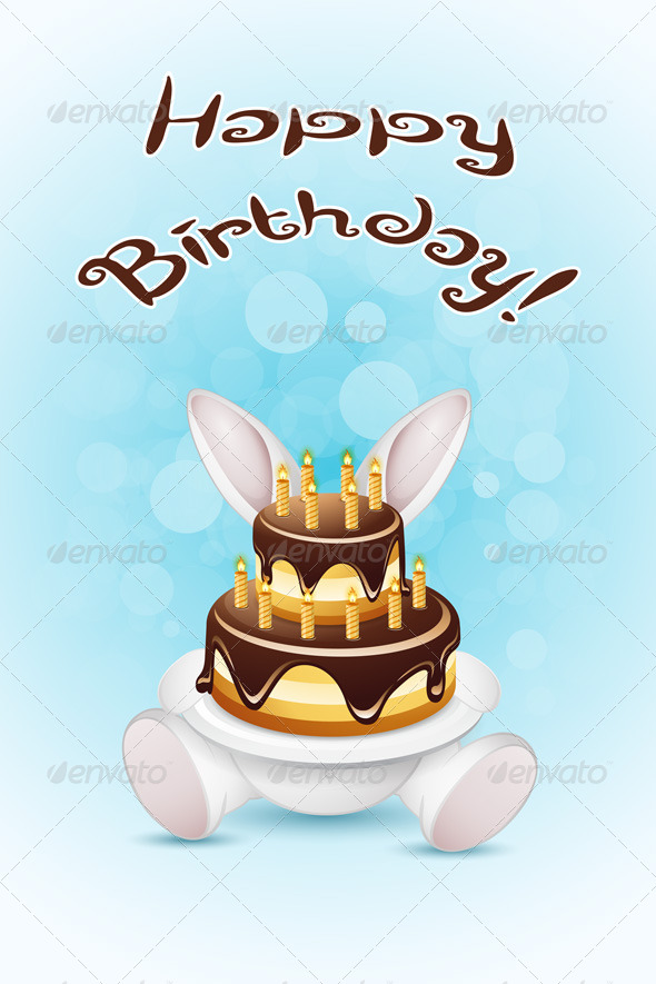 GraphicRiver Happy Birthday Card with Cake 7664415
