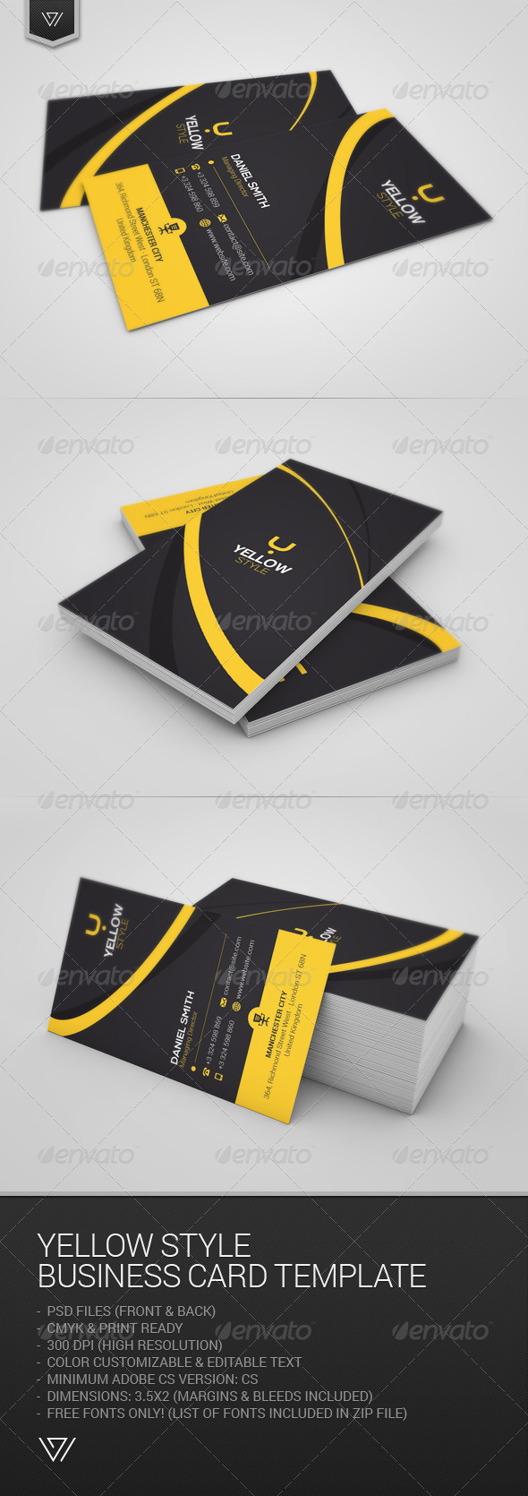 GraphicRiver Yellow Style Business Card 7664609