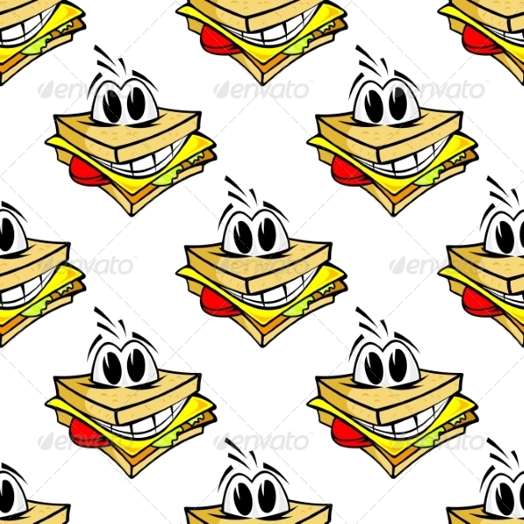 GraphicRiver Happy Cartoon Cheese Sandwich Seamless Pattern 7664679
