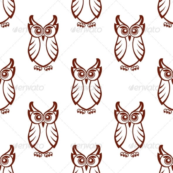 GraphicRiver Seamless Pattern of a Wise Old Owl 7665058