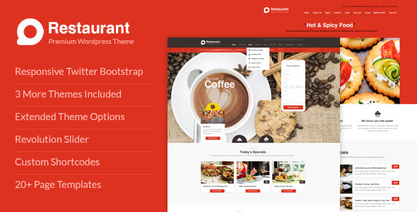 Restaurant Responsive WordPress Theme - Restaurants & Cafes Entertainment