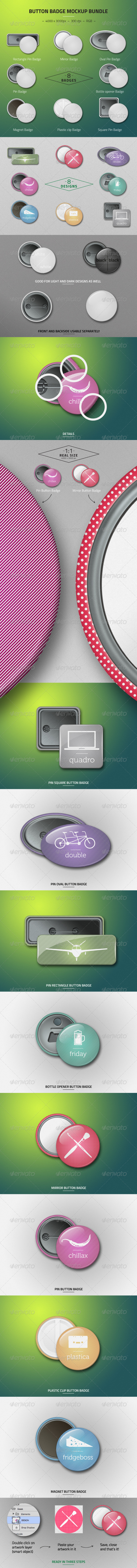 GraphicRiver Button Badge Mockup Bundle 7665754