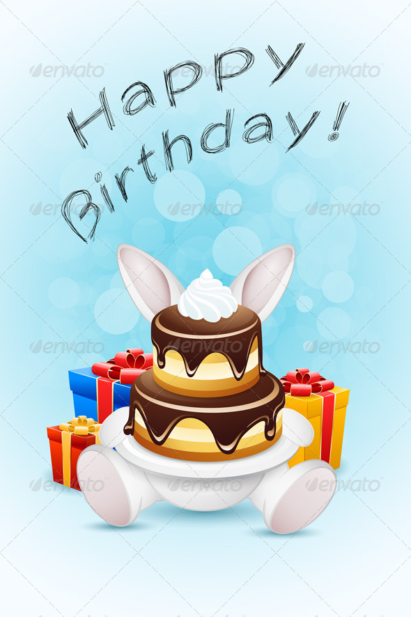GraphicRiver Happy Birthday Card with Cake and Gifts 7665961