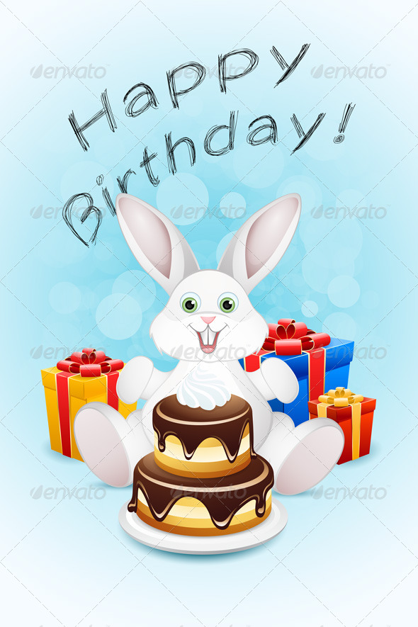GraphicRiver Happy Birthday Card with Cake and Gifts 7665984