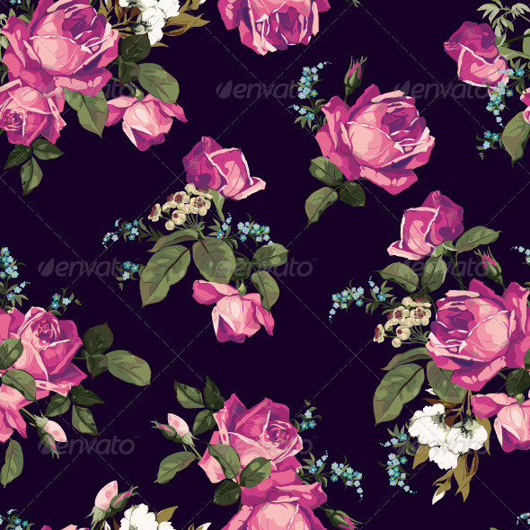 GraphicRiver Seamless Floral Pattern with Pink Roses 7665988
