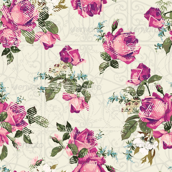 GraphicRiver Seamless Floral Pattern with Roses 7665993