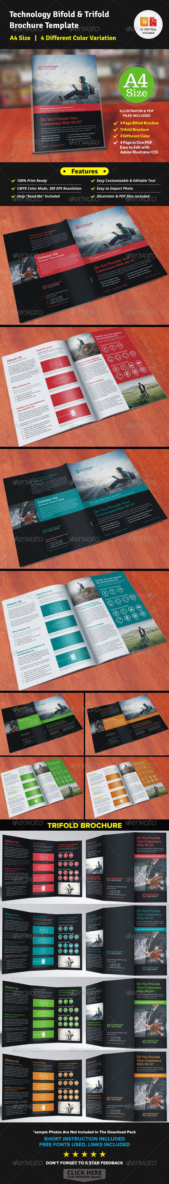 GraphicRiver Technology Bifold & Trifold Brochure 7665994