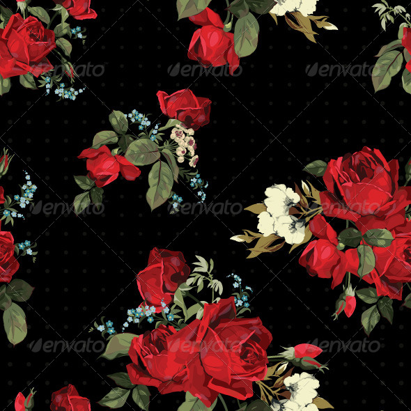 GraphicRiver Seamless Floral Pattern with Red Roses 7666069