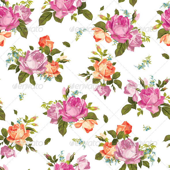 Seamless Floral Pattern with Pink and Orange Roses