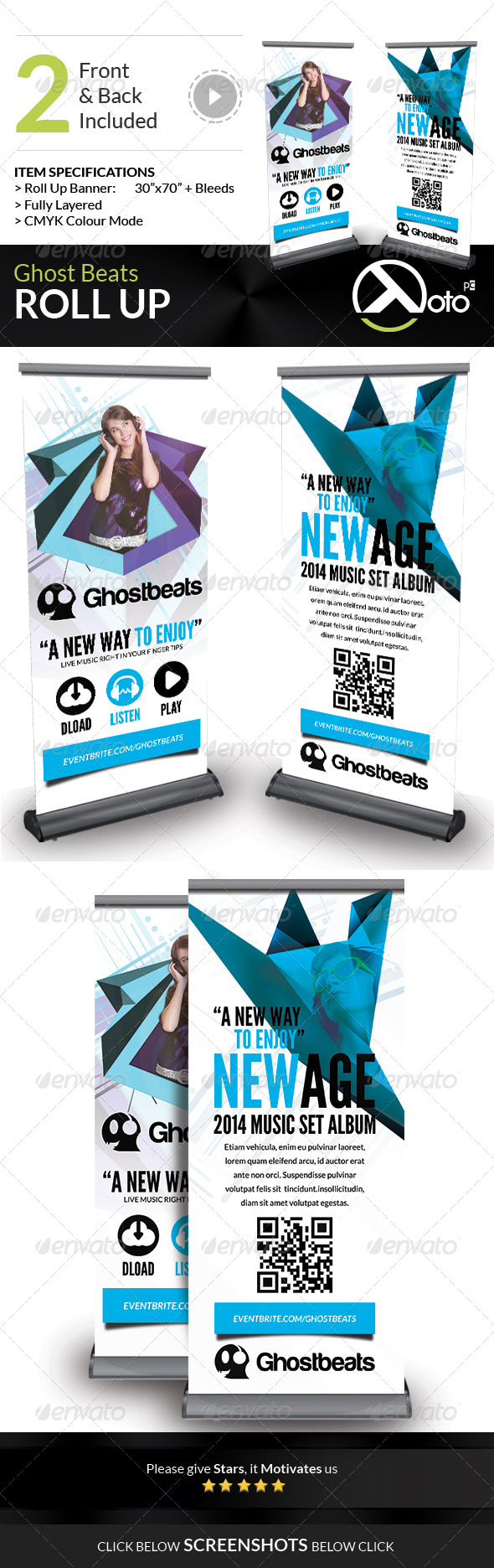 GraphicRiver Ghost Beats Music Downloads Roll Up 7666081