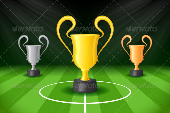 GraphicRiver Soccer Background with Three Award Trophies 7666411
