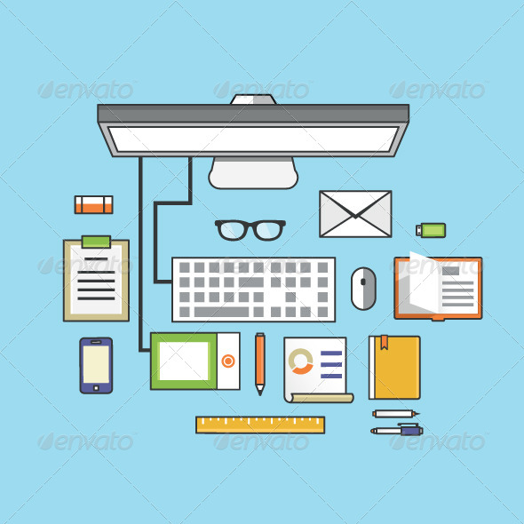 GraphicRiver Workplace with Mobile Devices and Documents 7666438