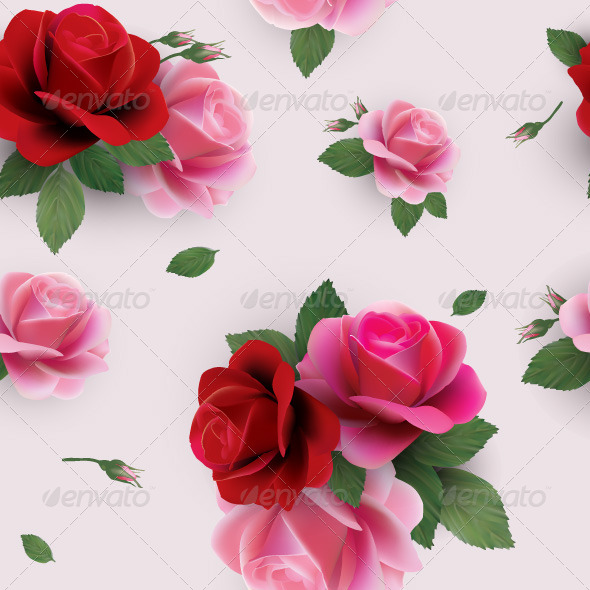 GraphicRiver Seamless Floral Pattern with Red and Pink Roses 7666443