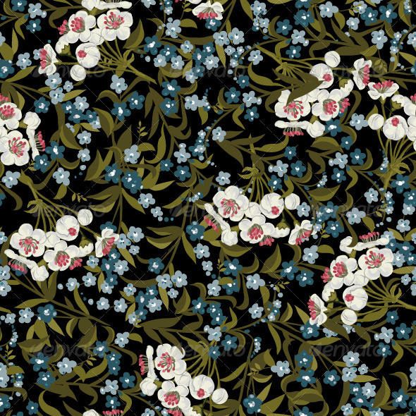GraphicRiver Seamless Floral Pattern with Forget-Me-Not 7666461