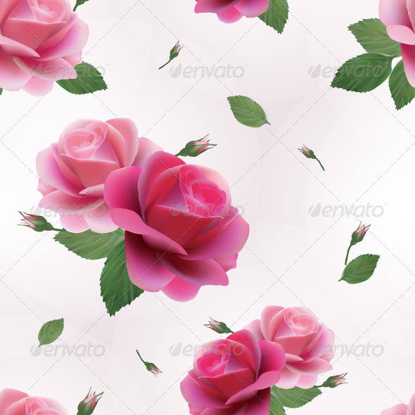 GraphicRiver Elegant Seamless Floral Pattern with Pink Roses 7666468