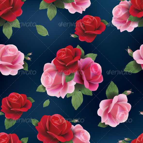 GraphicRiver Seamless Floral Pattern with Red and Pink Roses 7666536