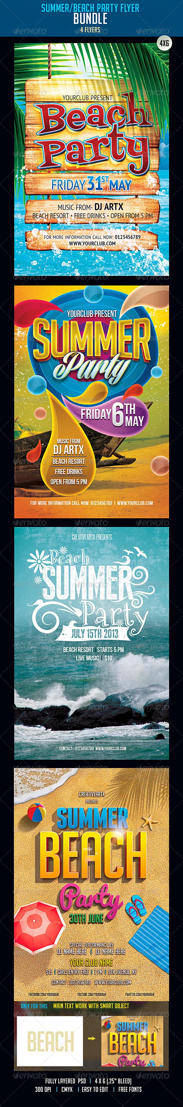 GraphicRiver Summer-Beach Flyer Bundle 7666619