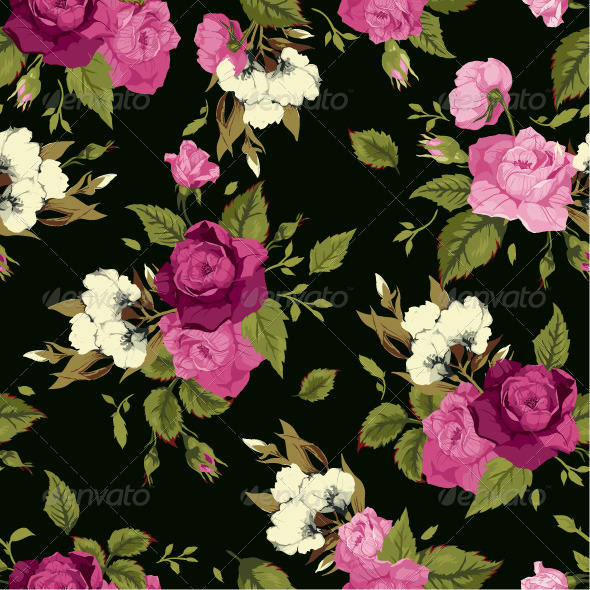 GraphicRiver Seamless Floral Pattern with Roses 7666622
