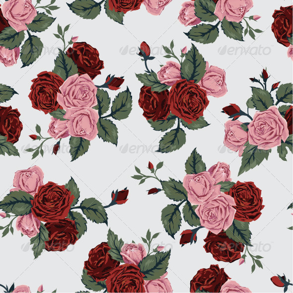 GraphicRiver Seamless Floral Pattern with Red and Pink Roses 7666654