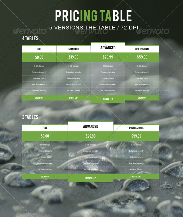 GraphicRiver Pricing Table 7667250